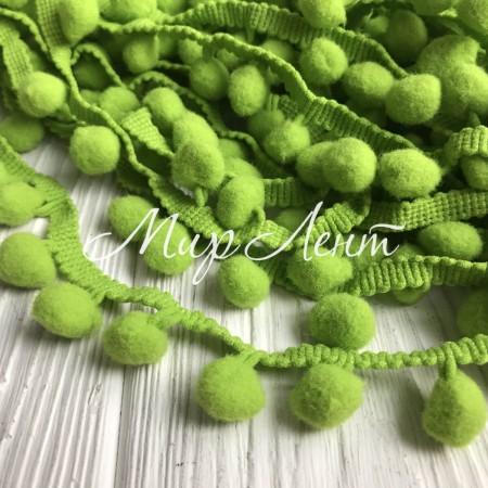 Тесьма помпончики, 1,5 см, оливковый, моток 20 ярдов (18,5 м)