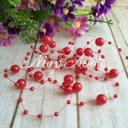 Бусины на леске, 3-8 мм, красные, упаковка 40 нитей