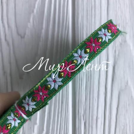 Тесьма вышиванка цветочек-звезда, 1 см, зеленый, рулон 9 м