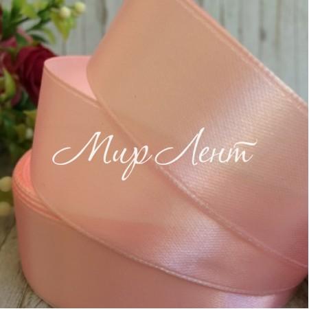 Атлас 2,5 см, светло-розовый, рулон 33 м